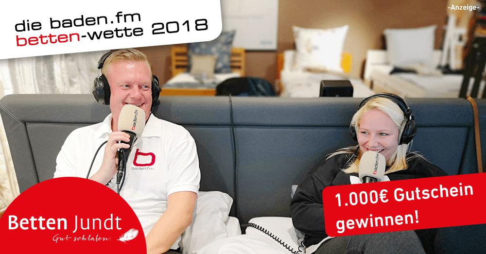 Die baden.fm Bettenwette in Emmendingen bei Betten Jundt hat begonnen. Wer liegt länger?