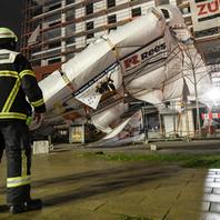 Feuerwehr Freiburg, Baugerüst, Sturm, Orkan, Sabine