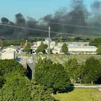 Rauchwolke, Großbrand, Malterdingen, Bauschutt
