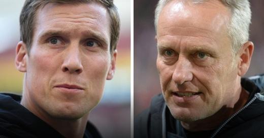 SC Freiburg, VfB Stuttgart, Christian Streich, Hannes Wolf, Trainer, © Marijan Murat / Patrick Seeger - dpa