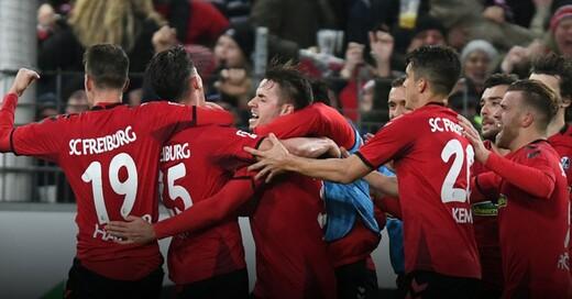 SC Freiburg, Mannschaft, Torjubel, © Patrick Seeger - dpa
