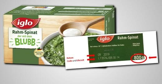 Iglo, Rahmspinat, Rückruf, © Iglo / obs