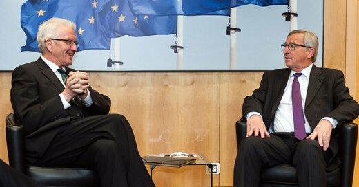 Winfried Kretschmann, Jean-Claude Juncker, EU-Kommission, Ministerpräsident, © FKPH - dpa