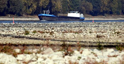 Frachtschiff, Rhein, Niedrigwasser, © Uli Deck - dpa (Symbolbild)