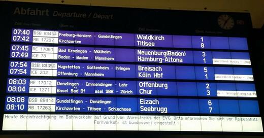 Deutsche Bahn, Zugausfall, Verspätung, Warnstreik, © baden.fm