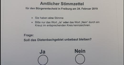 Bürgerentscheid Dietenbach, Stimmzettel