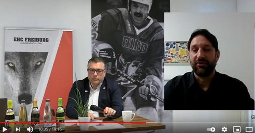 © EHC-Präsident Michael Müller (li.) und Neu-Trainer Robert Hoffmann bei der Online Pressekonferenz. Foto: Youtube