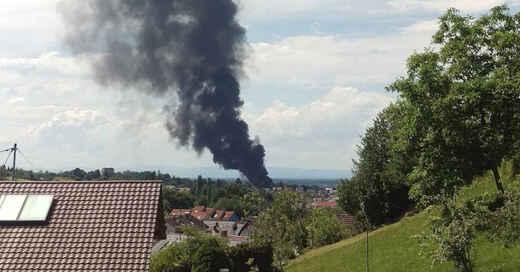 Großbrand, Rauchsäule, Offenburg, Rauchwolke, Oststadt, © Silke Lucie Keil / Funkhaus Ortenau