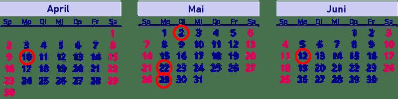 Brückentage, Kalender, April, Mai, Juni