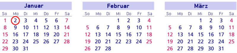 Brückentage, Kalender, Januar, Februar, März