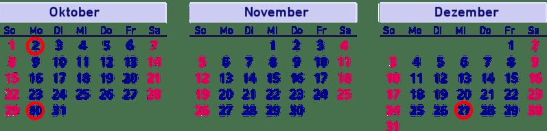Brückentage, Kalender, Oktober, November, Dezember