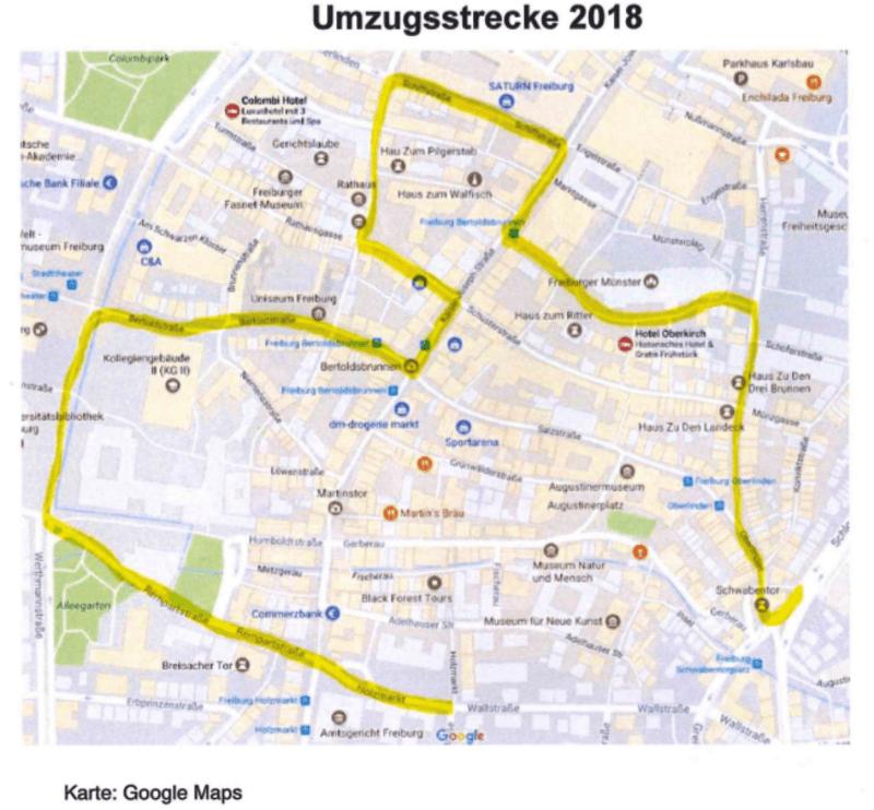 Freiburg Karte.Fasnetmendigs Umzug In Freiburg Heute Mit Leicht Geanderter