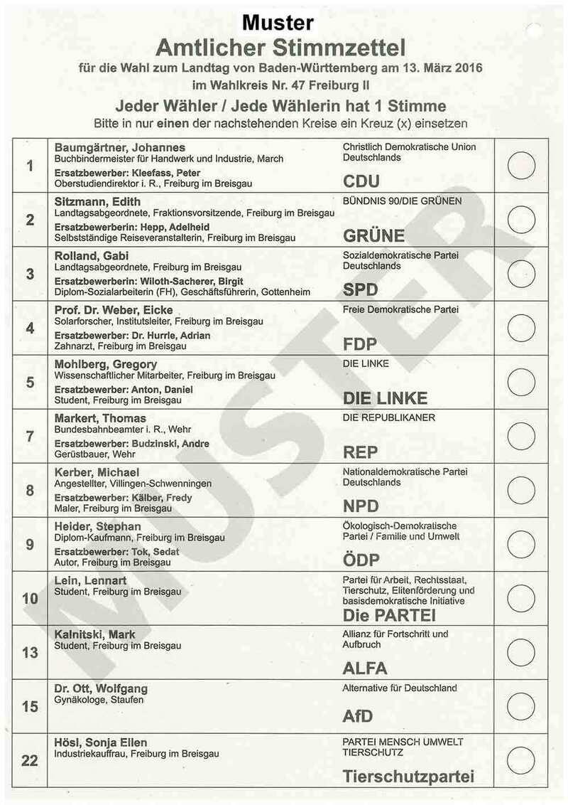 Muster eines Stimmzettel für die Landtagswahl Baden-Württemberg 2016, © Wahlamt Freiburg