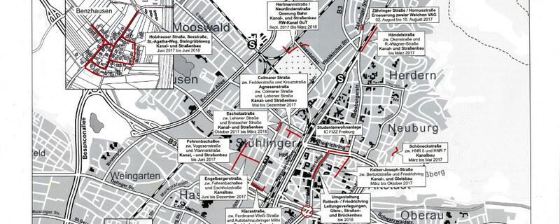 Baustellen, Übersicht, Freiburg, © Garten- und Tiefbauamt Freiburg