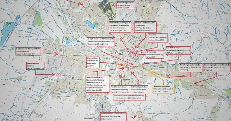 Übersicht, Karte, Baustellen, Freiburg, 2018, © Garten- & Tiefbauamt Stadt Freiburg