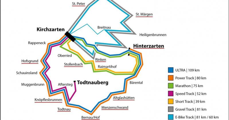 Streckenverlauf, Ultra-Bike-Marathon, Kirchzarten