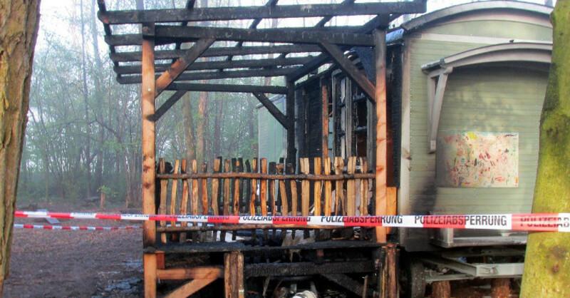 Bauwagen, Waldkindergarten, Rieselfeld, Brand, © Polizeipräsidium Freiburg
