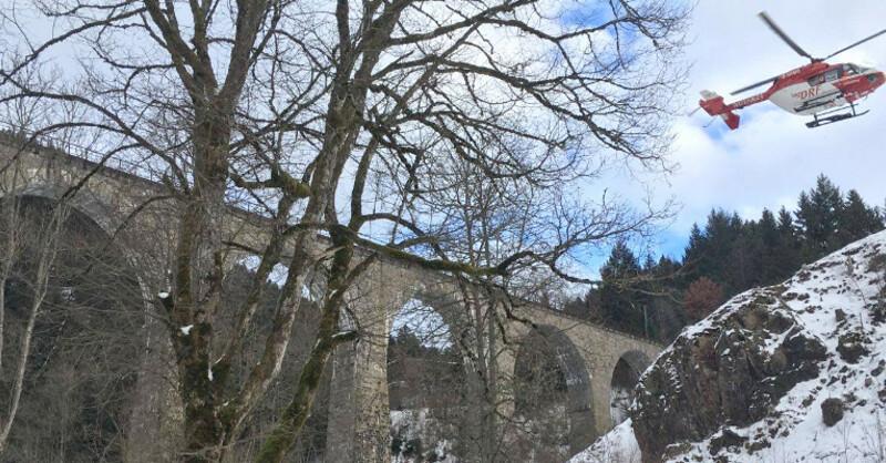 Ravennschlucht, Viadukt, Brücke, Rettungshubschrauber, © Bergwacht Schwarzwald