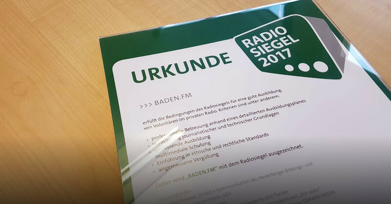 Radiosiegel 2017, Auszeichnung, Preis, baden.fm, Volontär, © baden.fm