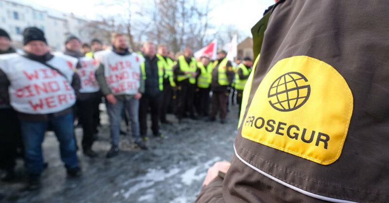 Prosegur, Geldtransporter, Warnstreik, © Sebastian Willnow - dpa