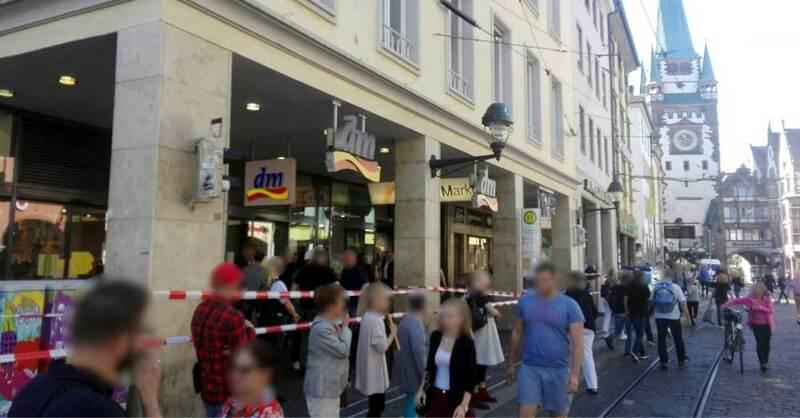 Verpuffung, Bertoldsbrunnen, Freiburg, Polizei, Absperrung, © baden.fm