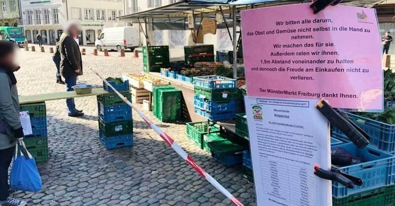 Münstermarkt, Marktstand, Sicherheitsabstand, Freiburg, © baden.fm