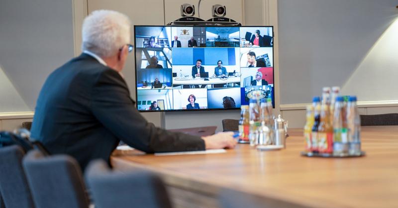 Winfried Kretschmann, Ministerpräsident, Baden-Württemberg, Videokonferenz, © Jana Höffner - Staatsministerium Baden-Württemberg / dpa (Archivbild)
