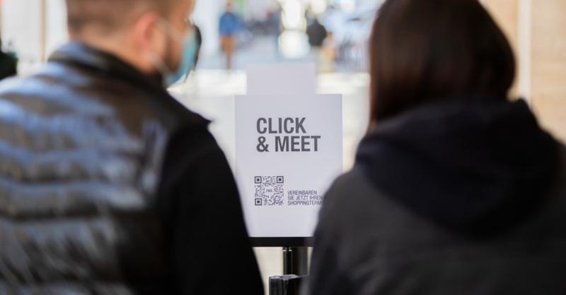 Click & Meet, Click & Collect, Lockdown, Einzelhandel, Shopping, Einkaufen, © Christoph Söder - dpa (Symbolbild)
