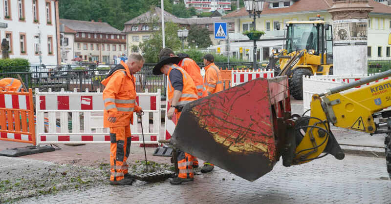 Aufräumarbeiten, Bauhof, St. Blasien, Unwetter, Bagger, © Stadt St. Blasien