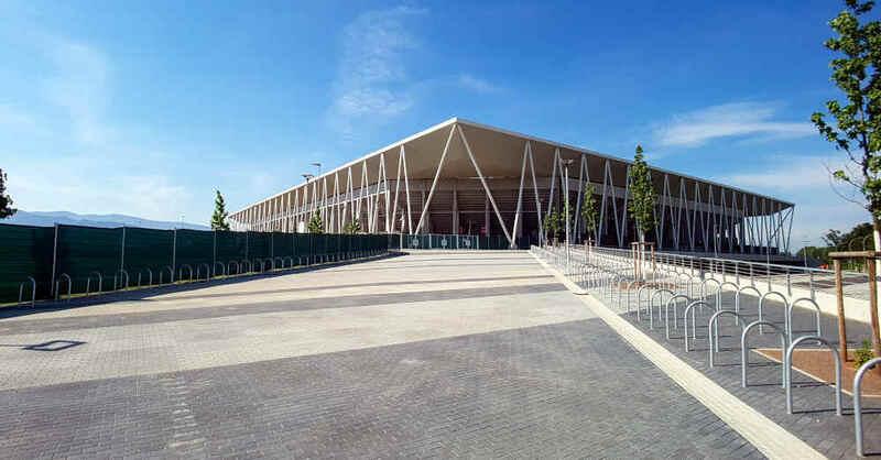 Fußballstadion, SC Freiburg, Wolfswinkel, Arena, Bundesliga, Haupteingang, © baden.fm