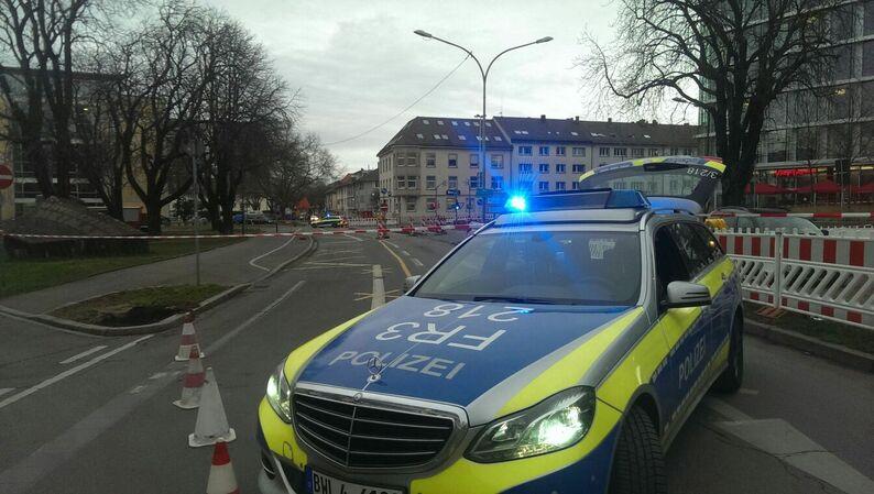 Poliezi, Absperrung, Firedrichring, Freiburg, © baden.fm