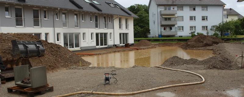 Baugrube, Hochwasser, Heitersheim, © baden.fm