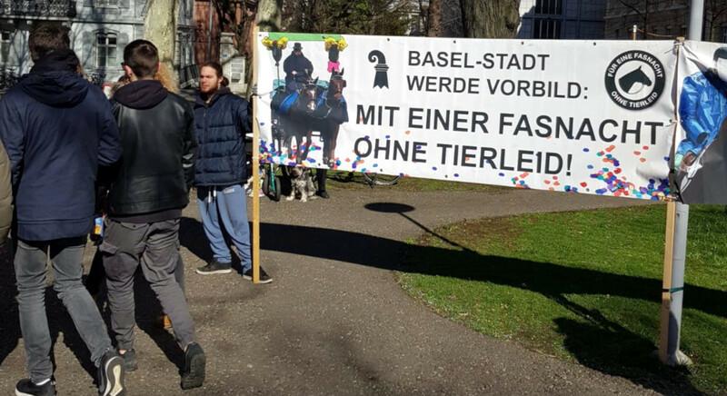 """Pferd, Demo, Basel, Fasnacht, Sturz, © Initiative """"Für eine Fasnacht ohne Tierleid"""""""